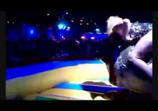 Girl Rides Mechanical Bull