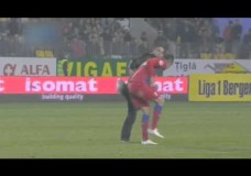 Fan Attacks Soccer Player