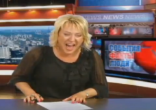 Laughing Russian Newscaster
